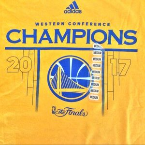 NWT ADIDAS NBA CHAMPIONSHIP SHIRT 2017 WARRIORS M